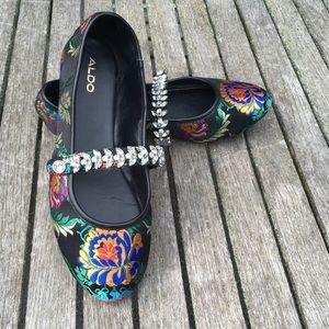 Aldo Flats Rhinestones and Floral Jacquard Fabric
